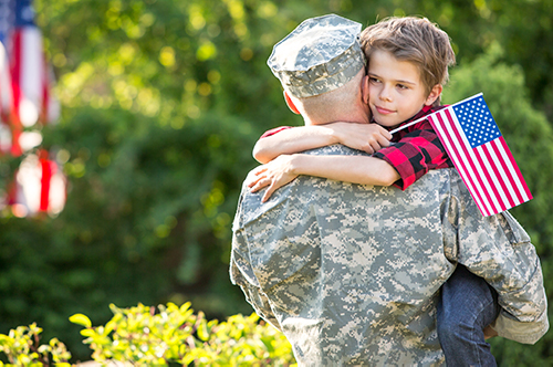 soldier reunion with son - VA Loans